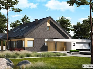 Daniel IV G2 – nowoczesny dom z atrakcyjną antresolą : styl , w kategorii Domy zaprojektowany przez Pracownia Projektowa ARCHIPELAG,Nowoczesny
