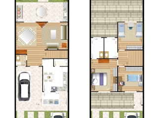 Sobrado 6x25 - 146 m2:   por Floorplans