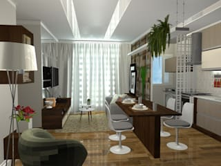 Salas Integradas: Salas de estar  por Arquiteta Elaine Silva