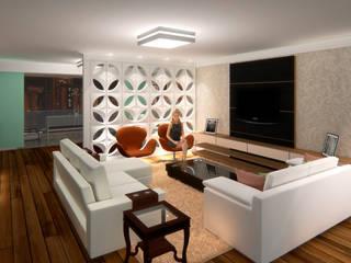 Apartamento 09 de Janeiro: Salas de estar  por Marco Lima Arquitetura + Design,Moderno