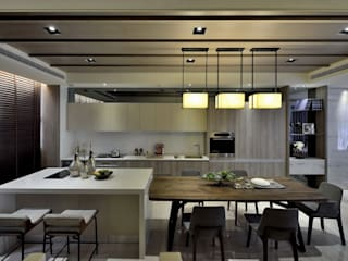 POSAMO十邑設計 Eclectic style kitchen Marble Grey