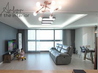 인천 송도신도시 더샵 그린스퀘어 38평 아늑한 아파트실내인테리어: 디자인 아버의  거실,모던