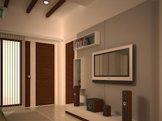 Madras Project Bedroom ,Dinning,Kitchen,Living Room:   by Walls Asia Architects and Engineers