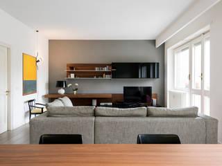 Vista della zona tv Soggiorno moderno di Archifacturing Moderno