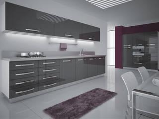 Feza Mutfak – Antrasit akrilik mutfak dolabı:  tarz İç Dekorasyon