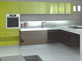 Feza Mutfak – Yeşil ve antrasit mutfak dolabı: modern tarz Mutfak