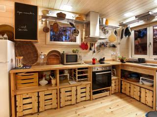 RUSTICASA Küchenzeile Holz Weiß