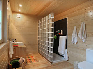 Minimalist style bathroom by Rusticasa Minimalist Wood Wood effect