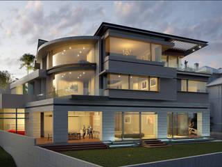 Fachada posterior: Casas de estilo  por Lazza Arquitectos