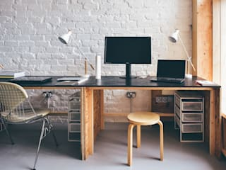 Designed and made desks with OSB and black painted plywood tops:  Offices & stores by Woodside Parker Kirk Architects