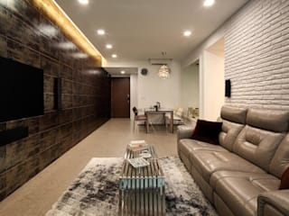 Minton Condo Interior Design Singapore:  Living room by Posh Home