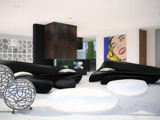 Siesta Twin House: Salones de estilo  de Zucchero Architects