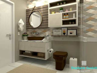 Stephanie Guidotti Arquitetura e Interiores Mediterranean style bathrooms Ceramic Beige