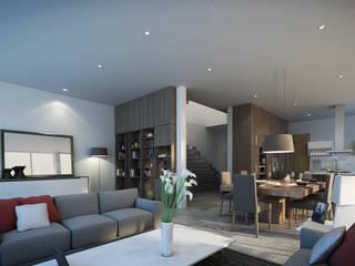 Estancia-Sala-Comedor Casa AI: Comedores de estilo  por TaAG Arquitectura