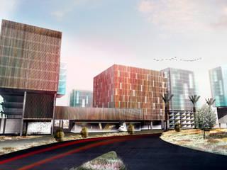 Fachada Conjunto Comercial y habitacional Mocambo: Espacios comerciales de estilo  por TaAG Arquitectura