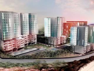Vista General Conjunto Comercial y habitacional Mocambo: Oficinas y tiendas de estilo  por TaAG Arquitectura