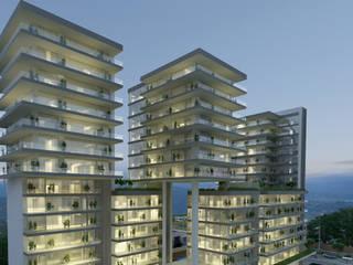 Fachada de noche Conjunto La Loma : Casas de estilo  por TaAG Arquitectura
