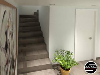 Hall escadas: Corredores e halls de entrada  por André Terleira - Arquitectura e Construção