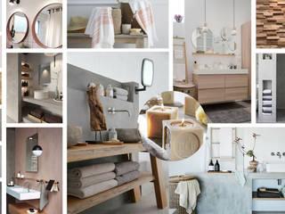 """Salle de bain """"Nature"""" """"Brut"""" Premières Perspectives Salle de bain moderne Béton Effet bois"""