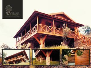 Wood & Schist House by Ecositana:   por ECOSITANA - Casas de Madeira Portugal