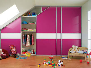 Sliding Door Fitted Wardrobe for Children's Bedroom with Sloped Ceiling Bravo London Ltd BedroomWardrobes & closets Aluminium/Zinc Pink