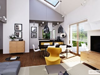 Projekt domu Daniel III G2 - harmonia nowoczesności i przytulności Nowoczesny salon od Pracownia Projektowa ARCHIPELAG Nowoczesny