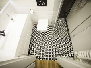 Prostokątna umywalka z odpływem liniowym od Luxum. Skandynawska łazienka od Luxum Skandynawski