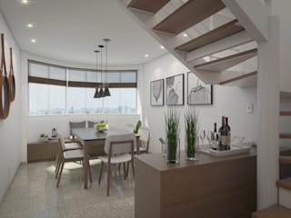 Filipe Castro Arquitetura | Design Modern dining room Granite White