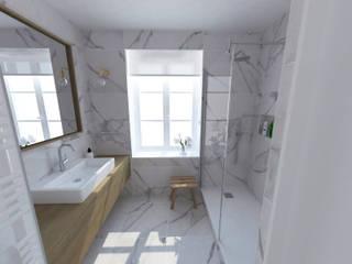 Création d'un appartement dans un ancien couvent Salle de bain scandinave par La Fable Scandinave