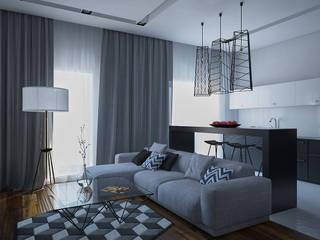 Минималистичная квартира в ЖК Солнечный: Гостиная в . Автор – JoinForces studio