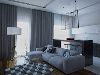 Минималистичная квартира в ЖК Солнечный Гостиная в стиле минимализм от JoinForces studio Минимализм