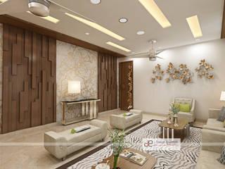 Villa at Jay Pee Greens Greater Noida :  Living room by Design Essentials