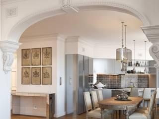 """Дизайн проект квартиры """"Парадный квартал"""" Кухни в эклектичном стиле от ELENA SKUTOVA Эклектичный"""