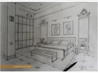 Эскизы и коллажи Спальня в эклектичном стиле от ELENA SKUTOVA Эклектичный