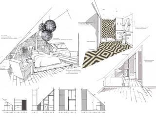 PERSPECTIVES - RENDU à la MAINS - ARCHITECTURE ET DECORATION INTERIEURE - PERROIN S: Chambre de style  par Stephanie Perroin