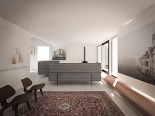 130_Attico in centro storico: Bagno in stile in stile Moderno di MIDE architetti