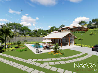 Projeto arquitetônico e paisagístico de Sítio : Casas  por Nayara Silva - Arquitetura e Urbanismo ,Campestre