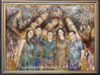El cuadro familiar como símbolo de la unión y el cariño entre los tuyos.:  de estilo  por MORAN Estudio De Arte