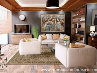 La alegría de la familia hará de tu sala un lugar memorable.:  de estilo  por MORAN Estudio De Arte
