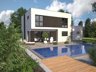 Fine Arts 137 - Gartenansicht: moderne Häuser von Bärenhaus GmbH - das fertige Haus