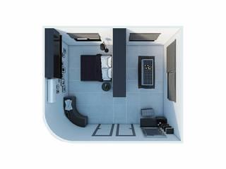 งานออกแบบเฟอร์บิวอิน ห้องนอนและ Walk in closet โดย SRANG