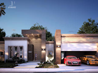 Fachada frontal: Casas de estilo moderno por Juan Pedraza Arquitecto