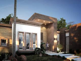 Perspectiva de fachada frontal : Casas de estilo moderno por Juan Pedraza Arquitecto