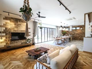 ジャストの家 Rustic style living room Wood Wood effect