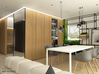 Wnętrze domu jednorodzinnego k. Lublina: styl , w kategorii Jadalnia zaprojektowany przez Wschód Architekci