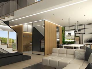 Wnętrze domu jednorodzinnego k. Lublina: styl , w kategorii Salon zaprojektowany przez Wschód Architekci