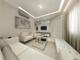 Sala de Estar para um Jovem Casal: Salas de estar  por Annelise Massani - Interiores + Arquitetura,Moderno