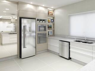 Ambientes Integrados: Cozinha e Sala de Jantar: Cozinhas  por Annelise Massani - Interiores + Arquitetura,Moderno