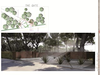 rendering studio e planimetria ingresso: Giardino in stile in stile Mediterraneo di      Massimo Viti Architetto                                   studio Architectural Make-Up+