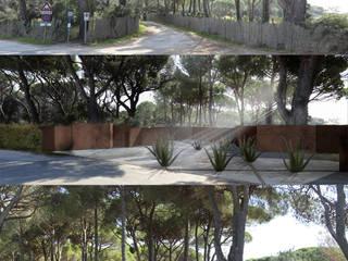 studio stato attuale - modificato: Giardino in stile in stile Mediterraneo di      Massimo Viti Architetto                                   studio Architectural Make-Up+